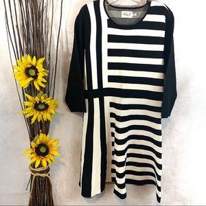 ❌SOLD❌ Eliza J Striped Skater Sweater Dress Black